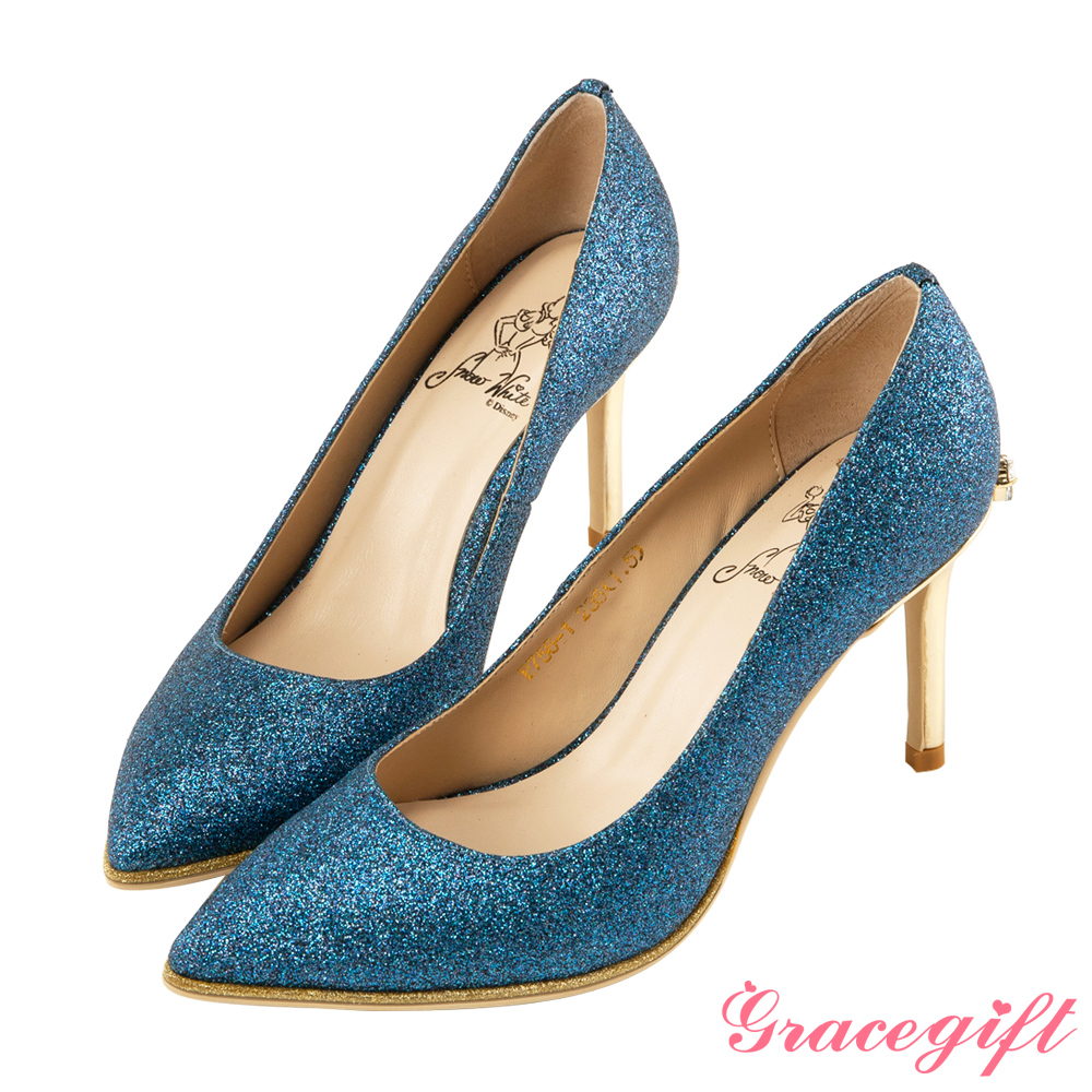 Disney collection by Grace gift蝴蝶結鑽釦金蔥高跟鞋 藍