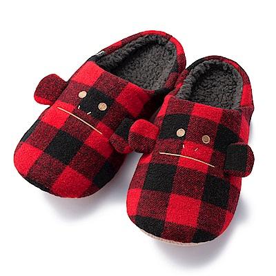 CRAFTHOLIC宇宙人 經典紅黑格紋猴室內拖鞋( 男生尺碼 )