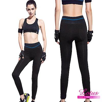 運動褲 點點織紋彈力包腹瑜珈運動褲 活力藍 LOTUS