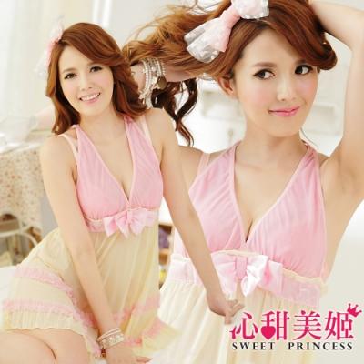 奢華網紗睡衣裙組 V領蝴蝶結美胸+雙層蕾絲裙擺 沁甜美姬(黃)