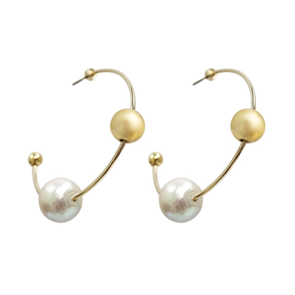 Prisme 美國時尚飾品 簡約星軌造型 金色耳環