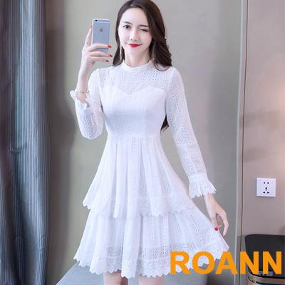 花邊圓領拼接雙層下擺長袖洋裝 (白色)-ROANN