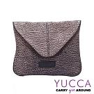 YUCCA - 牛皮新潮個性手拿斜背包-淺咖啡-D0121077