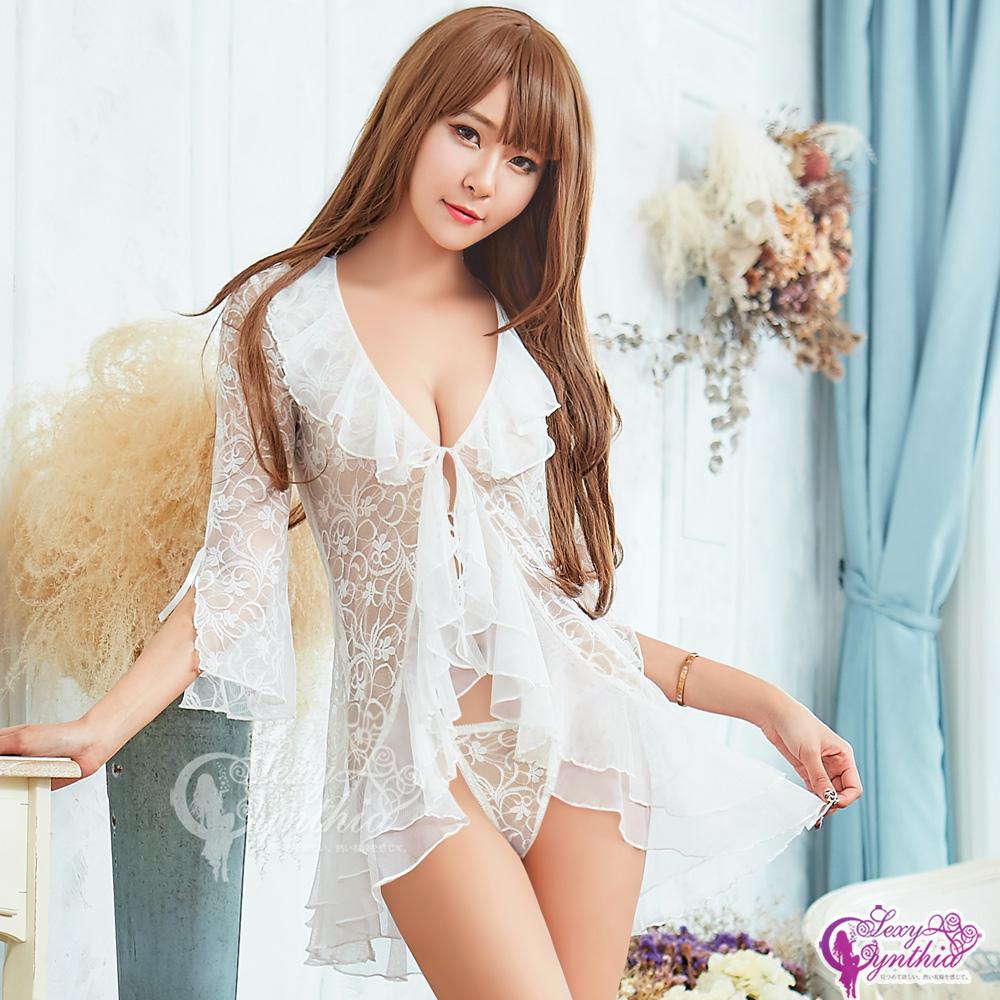 Sexy Cynthia情趣罩衫 浪漫透視蕾絲紗罩衫丁字褲二件組-白F
