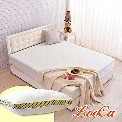 (破盤組)LooCa 水漾天絲5cm天然乳膠床墊-單大3.5尺