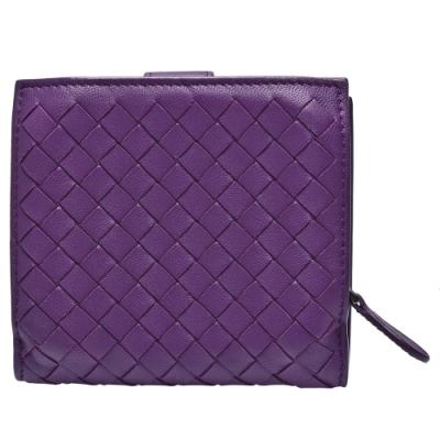 BOTTEGA VENETA 經典羊皮編織圓皮拉鍊零錢袋釦式短夾(紫色)