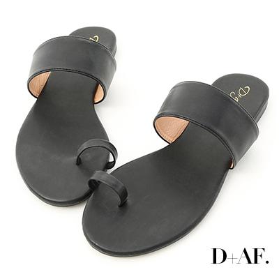 D+AF 夏日微醺.一字寬帶套指涼拖鞋*黑