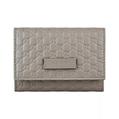 GUCCI Guccissima雙G壓紋LOGO牛皮2卡扣式卡片零錢包(煤灰)