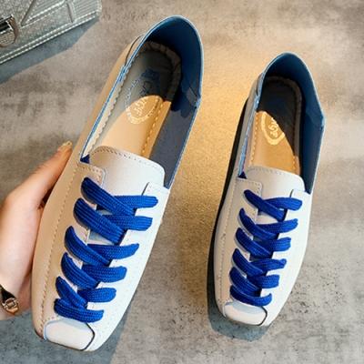 KEITH-WILL時尚鞋館 單色潮流綁帶平底鞋-藍色