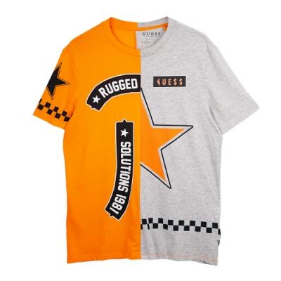 GUESS-男裝-圖案色塊拼接圓領短T-橘灰