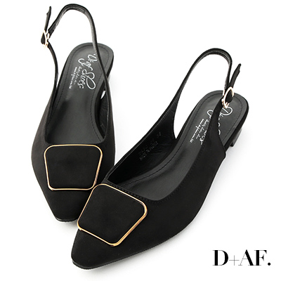 D AF 都會印象.幾何釦飾後空低跟鞋*黑
