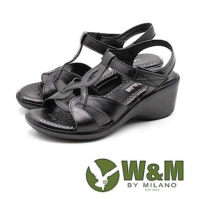 W&M(女)原色幾何編織楔型涼鞋-黑(另有棕)