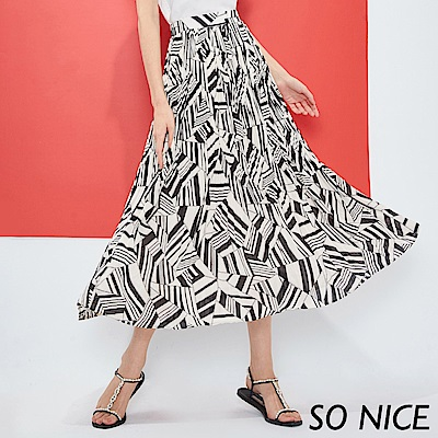 SO NICE時尚幾何印花壓褶雪紡長裙