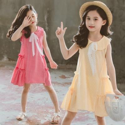 小衣衫童裝 中大童娃娃領蕾絲蝴蝶結連身裙洋裝1090413