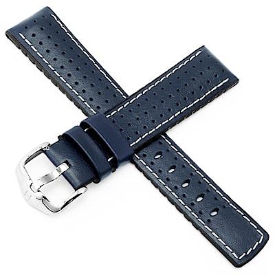 海奕施 HIRSCH Tiger L 橡膠複合小牛皮錶帶-藍