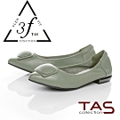 TAS幾何包釦羊皮娃娃鞋-湖水綠