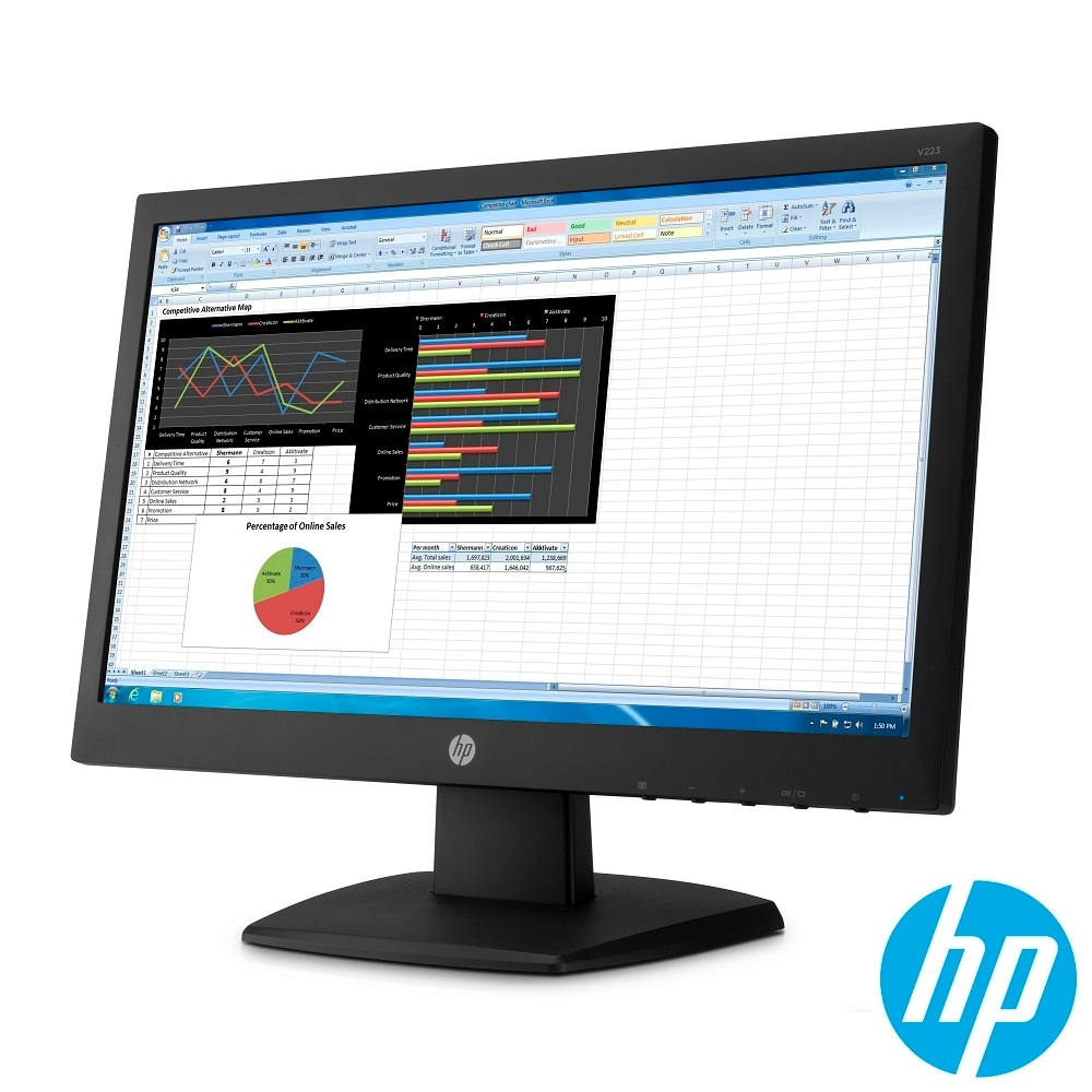 HP V223 21.5吋 TN 防眩光電腦螢幕