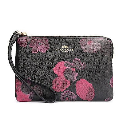 COACH 粉紅花卉圖案 PVC皮革L型拉鍊手拿包-黑/紅
