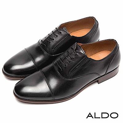 ALDO 原色真皮鞋面彈性綁帶式尖頭粗跟皮鞋~尊爵黑色