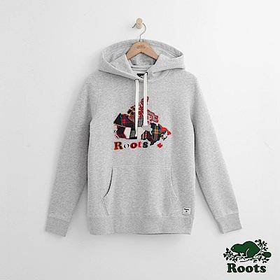 Roots -女裝- 彩格加拿大帽T - 灰