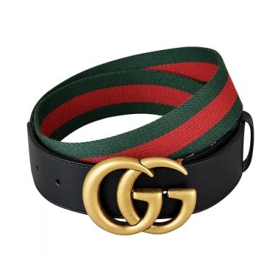 GUCCI 經典復古金屬GG金扣綠紅綠織帶皮帶(黑)