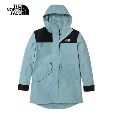 The North Face北面女款藍色防水透氣連帽衝鋒衣|4U9OBDT