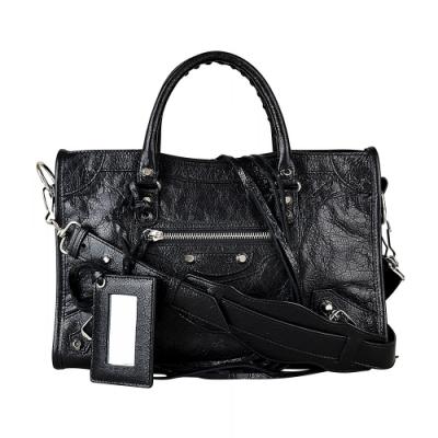 BALENCIAGA巴黎世家CITY S經典銀釦小羊皮拉鍊手提斜背機車包(黑)