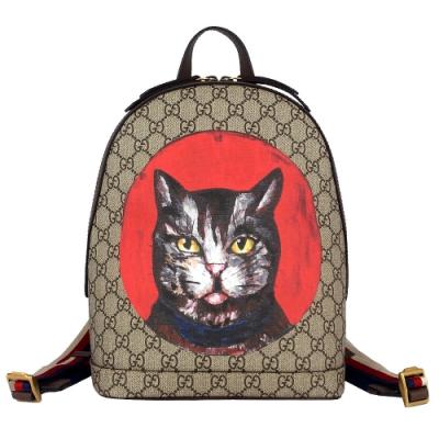 GUCCI GG Supreme Mystic Cat 三色織帶帆布後背包