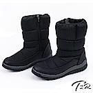 【T2R】雪地必備含冰爪溫暖內鋪毛後底中筒靴雪靴-黑