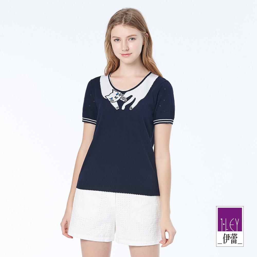 ILEY伊蕾 可愛貓咪圍脖針織上衣(白/藍)