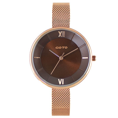 GOTO Marine 海洋系列精品時尚手錶-IP玫x咖/33mm