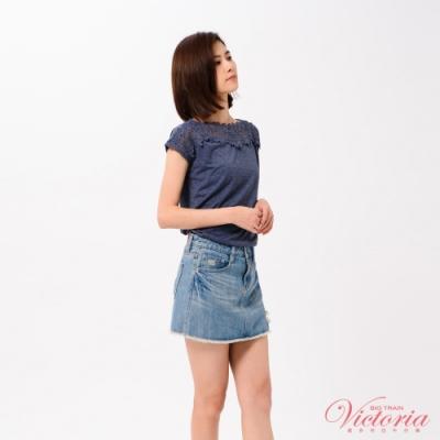 Victoria 肩飾蕾絲落肩短袖T-女-丈青