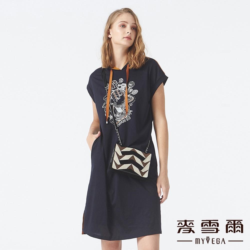 MYVEGA麥雪爾 絲光棉運動型連帽背心洋裝-藍