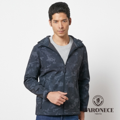 BARONECE 百諾禮士休閒商務  男裝 連帽迷彩軟殼衣外套-灰黑色(1206691-97)