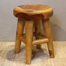 【Asllie】馬蘭柚木造型圓板凳-34.5x34.5x45cm