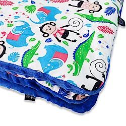 La Millou 暖膚豆豆毯(加大款)-歡樂拉拉猴(加勒比海藍)