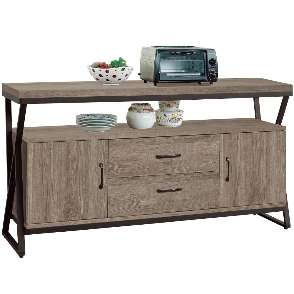 文創集 賽芙亞時尚5尺木紋餐櫃/收納櫃-150x40x82cm免組