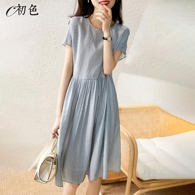 初色  清爽條紋連身裙-藍色-(M-2XL可選)