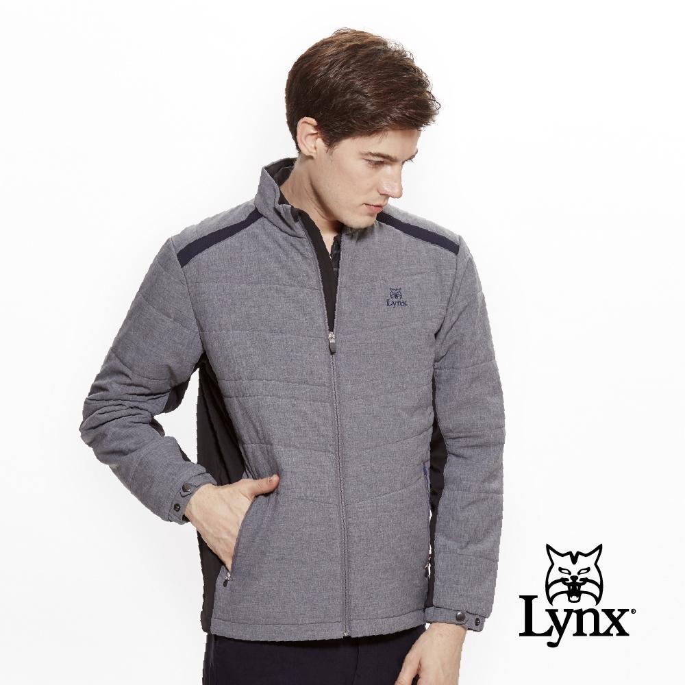 【Lynx Golf】男款防潑水橫紋鋪棉異材質剪接長袖外套-深藍色