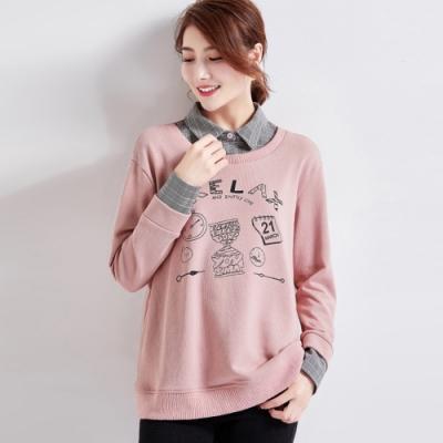 初色  假兩件字母印花長袖上衣-粉色-(M-3XL可選)