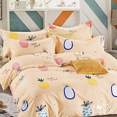 BUTTERFLY-台製柔絲絨單人薄式床包被套組-夏日鳳梨