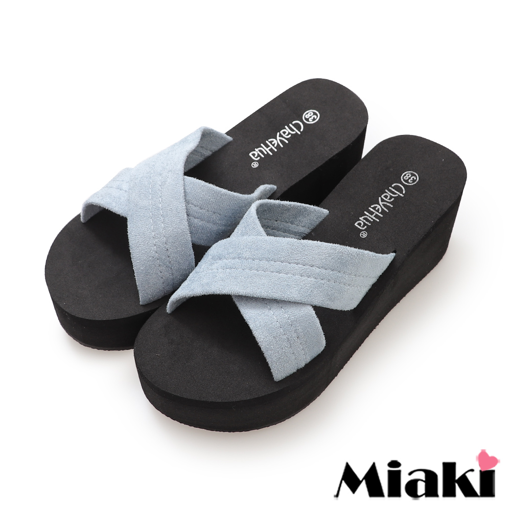 Miaki-涼拖時尚韓風坡跟拖鞋-藍色