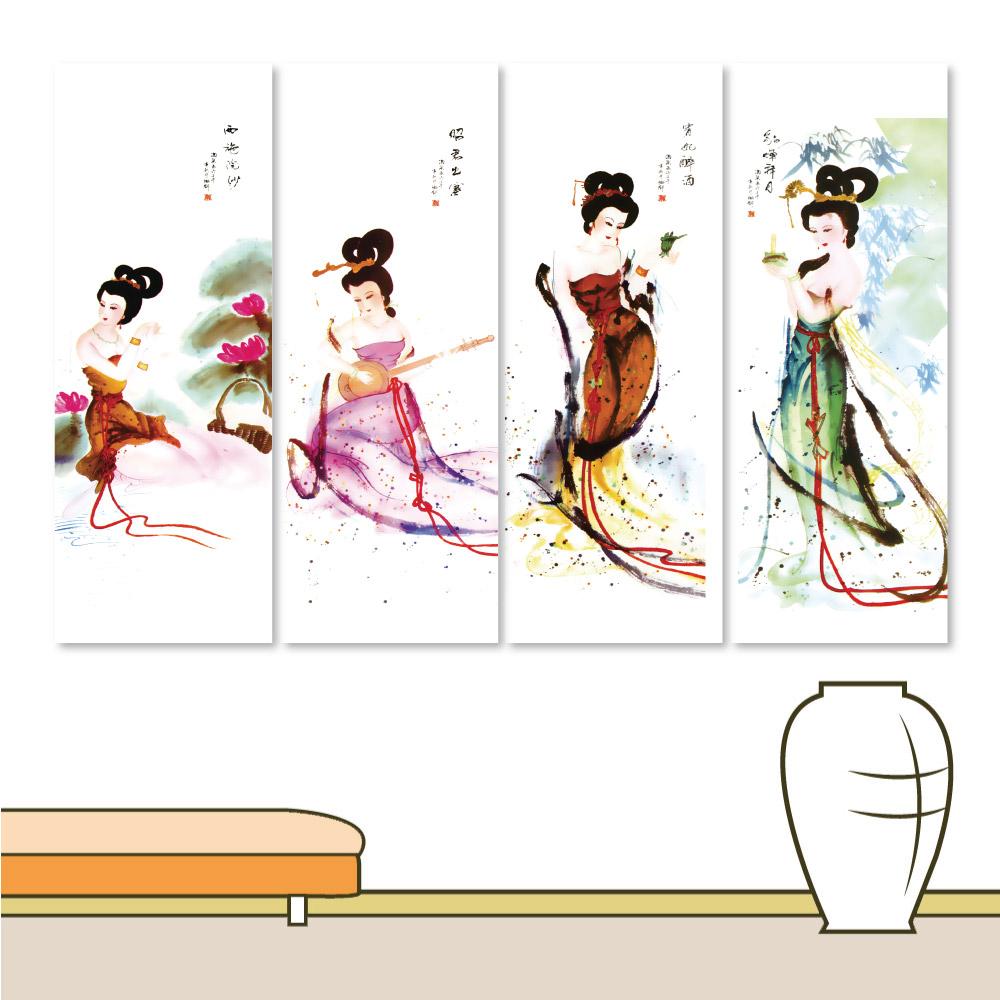 24mama掛畫 四聯式中國風無框畫-古典四大美人 30x40cm