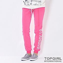 【TOP GIRL】字母印花棉針織休閒褲 - 俏桃紅