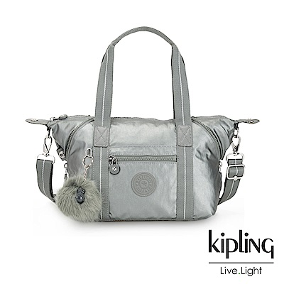 Kipling 金屬墨灰色手提側背包-ART MINI