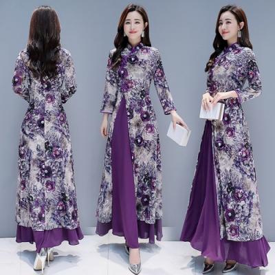 華麗復古風繡花典雅設計紫洋裝S-4XL-REKO