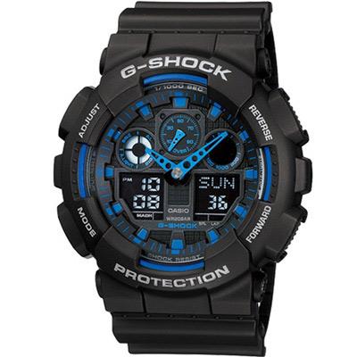G-SHOCK 粗獷個性風運動錶(GA-100-1A2)黑x藍