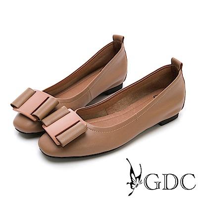 GDC-熱銷款真皮歐美風蝴蝶結素色平底鞋-卡其色