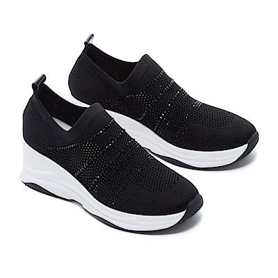 休閒鞋 MODA Luxury 百搭舒適透氣晶鑽飛織厚底休閒鞋-黑