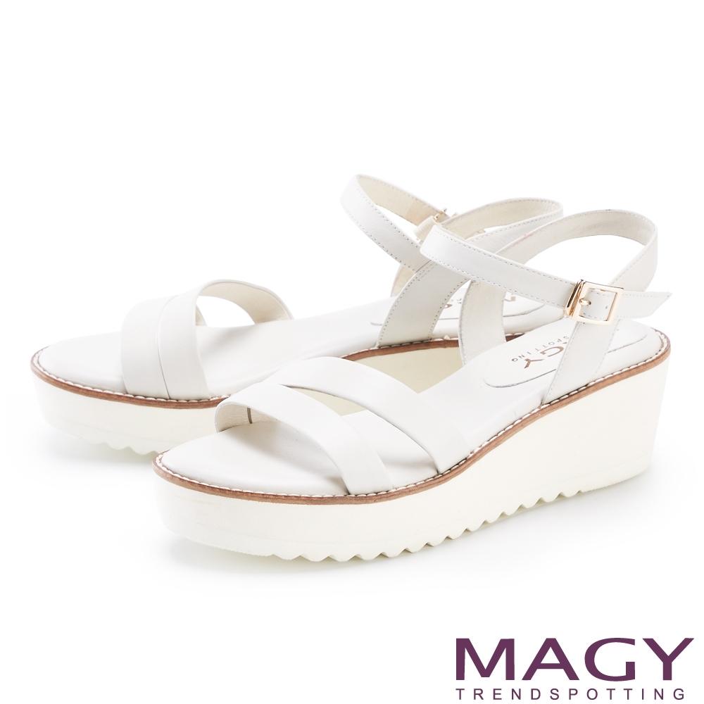 MAGY 斜邊真皮雙帶厚底 女 涼鞋 白色